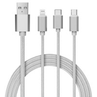 Kabel Data 3 in 1 Micro USB Lightning Type C Fast Charging SILVER