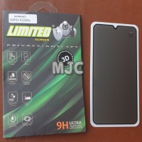 Limited Tempered Glass Spy Oppo A7 Full Black Privacy Premium