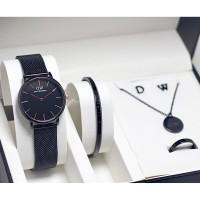 Jam tangan wanita cewek DW bonus gelang kalung cincin anting stainless