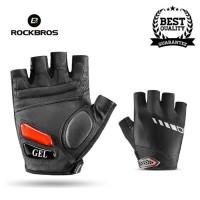 Rockbros Sarung Tangan Sepeda Gel Pad Gloves Half Finger Black