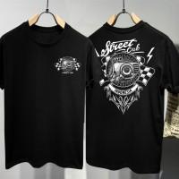T-shirt Street Cub / Baju Kaos Distro Pria Wanita Hitam Cotton 30s