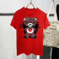 T-shirt Teddy Ngamuk / Baju Kaos Distro Pria Wanita Hitam Cotton 30s