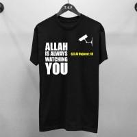 T-shirt Allah Is Watching / Baju Kaos Dakwah Pria / Kaos Islamic Pria