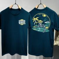 T-shirt Good Vibes / Baju Kaos Distro Pria Wanita Hitam Cotton 30s