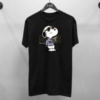 T-shirt Snoopy Mafia / Baju Kaos Distro Pria Wanita Hitam Cotton 30s