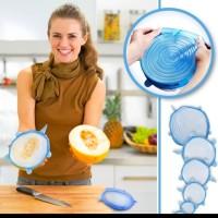 STRETCH BOWL COVER LID SILICONE FOOD MAKANAN ANTI TUMPAH FRESH 6 in 1