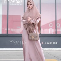 AMILY DINAR SET CHOCO ROSE GAMIS SET KHIMAR