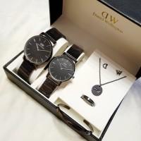 Jam tangan couple DW bonus gelang cincin kalung anting stainless strap