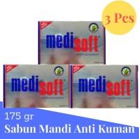 Medisoft soap 175gr Premium Sabun Mandi Anti Kuman 3Pcs Biru