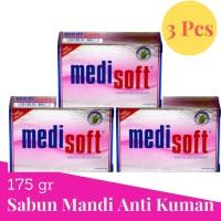 Medisoft soap 175gr Premium Sabun Mandi Anti Kuman 3Pcs Pink