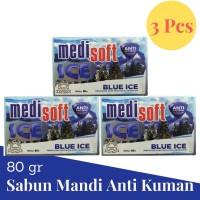 Medisoft - Ice Soap x3pcs 80gr / Sabun Mandi Batang Segar Anti Kuman