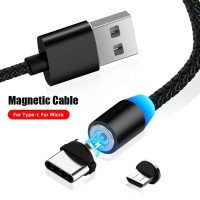Kabel Data USB Magnet 3 in 1 Micro Lightning Type C Magnetik