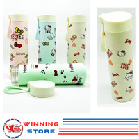 Botol Air Minum Kaca/Glass Tebal Karakter Hellokity Desain Cantik - KS
