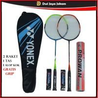 Raket Badminton Set Lengkap - 2 Raket 1 Tas 1 Slop Shuttlecock + Grip