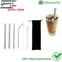Sedotan stainless straw 5 in1 juice & Bubble - Young's