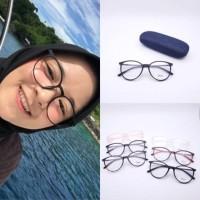 Frame kacamata nissa sabyan + lensa minus plus silinder cewek lentur