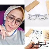 PAKET Frame kacamata tifani Albarn + lensa minus plus silinder normal