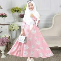 Setelan Gamis Syari / Baju Anak Perempuan Muslim Leeve 2in1 + Hijab HQ