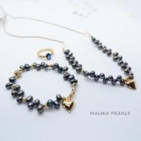 Set Perhiasan Cewek Mutiara Air Tawar Asli Hadiah Perhiasan d1