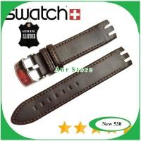 Tali Kulit Jam Tangan Swatch 21 mm Dark Brown