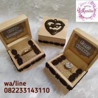 box kotak tempat perhiasan cincin rustic mahar