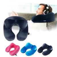 YMYQ Bantal Leher U-Shape Inflatable Travel Neck Pillow - 300TC - Dark