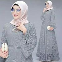 Gamis Maxi / Baju Dress Wanita Muslim Yunita Brukat Tulang Mewah HQ