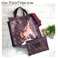 COACH Field Tote With Horse Carriage Print Unicorn