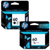PAKET TINTA HP 60 BLACK + COLOUR ORIGINAL