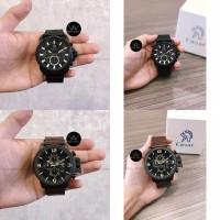 Jam tangan pria cowok original caesar chronograph tali kulit asli