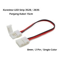 Konektor Klip LED Strip SMD 3528 2835 8mm 2 Pin Kabel 15cm Double