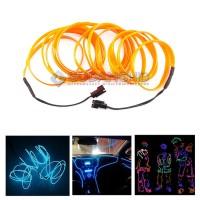Lampu EL Wire Flexible CCFL Neon LED Strip Garis 3 Meter 2 Konektor