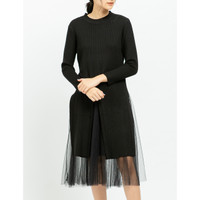 Yuan Market - Tulle Dress With Slit - Off Knitted Jumper
