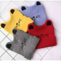 Topi kupluk rajut bayi telinga kucing