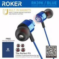 Headset Roker Blue RK39K Earphone Handsfree Roker Original Garansi