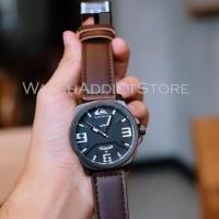 Jam tangan pria cowok murah quiksilver tali kulit coklat analog time