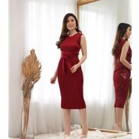 Osella Dress PLISKET LENGAN BUNTUNG FIT SAMPAI XL BODYCON