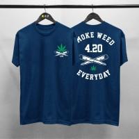 T-shirt 420 Smoke Weed / Baju Kaos Distro Pria Wanita Cotton 30s