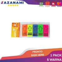 PRONTO SIGN HERE 5 WARNA PENANDA TANDA TANGAN POST IT MEMO STICKY NOTE