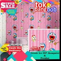 Wallpaper Dinding Sticker Doraemon Dorami Garis Pink 45cm x 10m 002