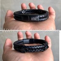 Gelang tangan murah pria cowok montblanc genuine leather series 5