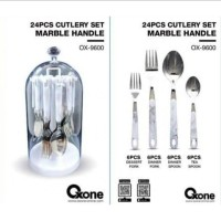 Oxone 24pcs Cutlery Set Marble Handle | Sendok & Garpu Makan OX-9600