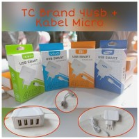 TRAVEL CHARGER BRANDED 4 USB + KABEL MICRO 1M