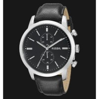 Fossil FS4866 Townsman Chronograph Black Dial Black Leather Strap