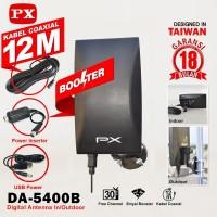 PX DA-5400B Antena TV Digital Analog+Kabel 12M Booster Indoor/Outdoor