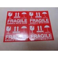 Stiker Fragile Warna Dasar Merah Tulisan Putih