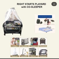 Rightstart Flexi Playard Safari White with Co-sleeper Babybox