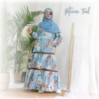 Urfimutiyaro Petunia Dress TEAL Gamis Only Motif Bahan Dior
