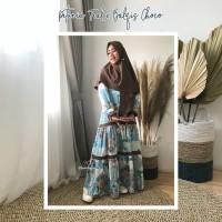 Urfimutiyaro Petunia Dress TEAL Gamis SET KHIMAR Motif Bahan Dior