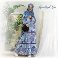 Urfimutiyaro Petunia Dress DESERT BLUE Gamis Only Motif Bahan Dior